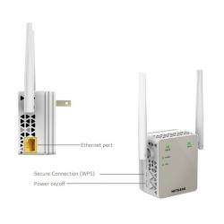 Netgear extensor de red Wifi AC1200 Dual Band (2,4/5 GHz, antenas extenas, repetidor WiFi, 1 puerto Fast Ethernet)