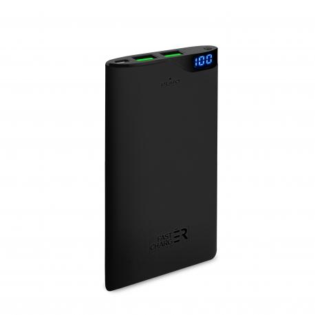 Puro power bank 6000 mAh 2 puertos USB 2A fast charge negra