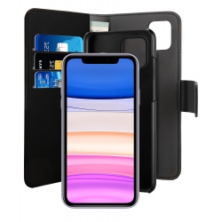 Puro funda wallet Apple iPhone 11 carcasa extraible negra