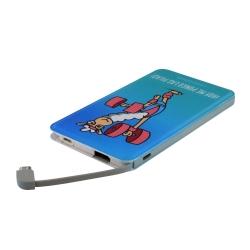 Kukuxumusu power bank 5000 mAh USB 1A cable USB-Micro USB + adaptador Lightning Llamagym azul