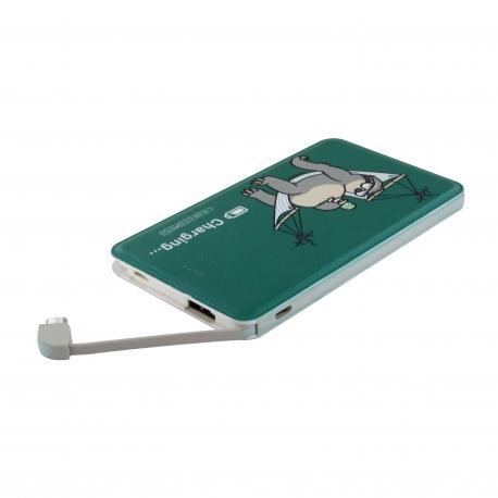 Kukuxumusu power bank 5000 mAh USB 1A cable USB-Micro USB + adaptador Lightning Tripaadvisor verde
