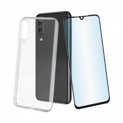 muvit pack Xiaomi Mi 9T/9T Pro funda Cristal Soft transparente + protector pantalla vidrio templado plano marco negro