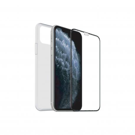 muvit for change pack LG K50S funda Cristal Soft transparente + protector de pantalla vidrio templado plano marco negro