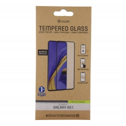muvit for change protector pantalla Samsung Galaxy A51/A51 5G vidrio templado plano marco negro