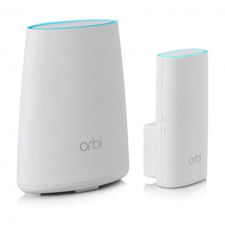 Netgear sistema Wifi Red Mesh Tribanda AC2200 con cobertura de 200m (router + enchufe de pared) Orbi