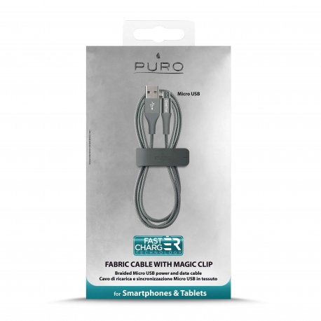 Puro cable USB-Micro usb 2,4A 1m gris
