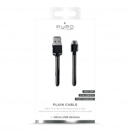 Puro cable USB- Micro USB 1A 2m negro