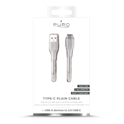 Puro cable USB a Tipo C 3A 480Mbps 1m. plano blanco