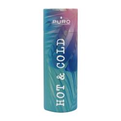 """Puro H&C botella de acero inoxidable doble pared """"Tropical Palms"""" 500ml rosa brillante"""