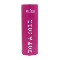 Puro botella de acero inoxidable doble pared 500ml rosa brillante