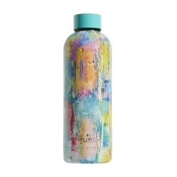 """Puro H&C botella de acero inoxidable doble pared """"StreetArtPaint"""" 500ml azul claro brillante"""