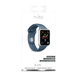 Puro pack 3 correas silicona Apple watch 42-44mm S/M y M/L azul marino