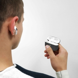 Puro funda silicona Apple Airpods Pro con tapa adicional gris oscuro