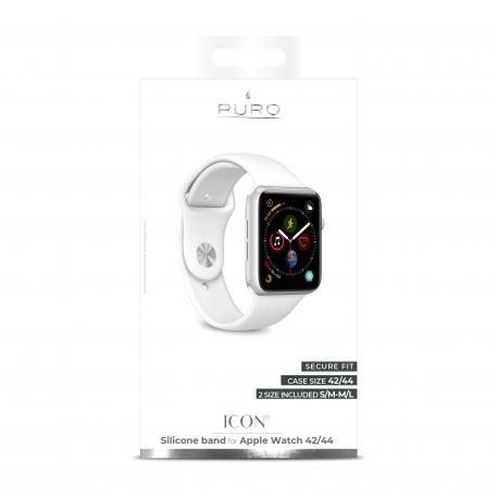 Puro pack 3 correas silicona Apple watch 42-44mm S/M y M/L blanco