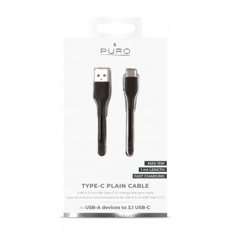 Puro cable USB-Tipo C 3A 1m negro