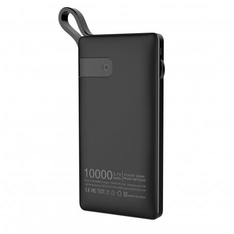 muvit power bank 10000 mAh 2 USB 1A + 2,1 Output + 1 input  (Micro USB) + wireless Qi 5W cable integrado negra