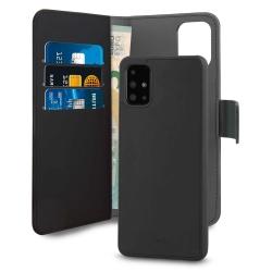 Puro funda piel Eco Samsung Galaxy A51 + carcasa extraíble magnética negra
