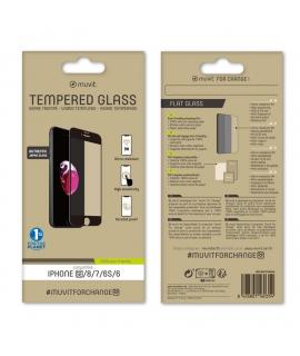 muvit for change protector pantalla Apple iPhone SE/8/7 vidrio templado plano marco negro