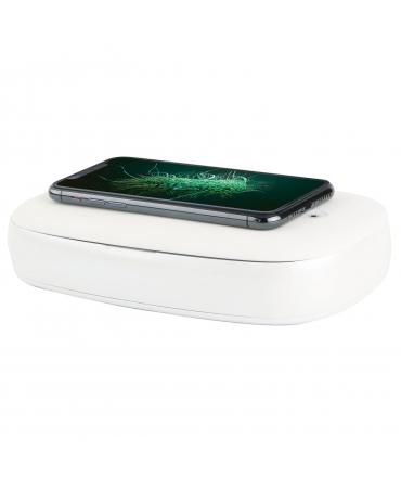 muvit esterilizador para móviles con carga inalámbrica rápida blanco