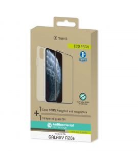 muvit for change pack Samsung Galaxy A20e funda transp.+prot.de pantal. vidrio templado plano marco negro antibacteriano