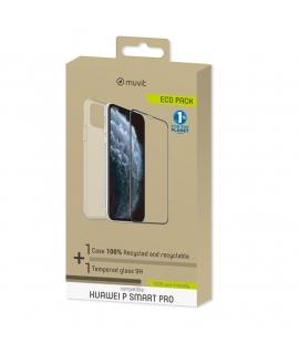 muvit for change pack Huawei P Smart Pro funda Cristal Soft + protector de pantalla vidrio templado plano marco negro