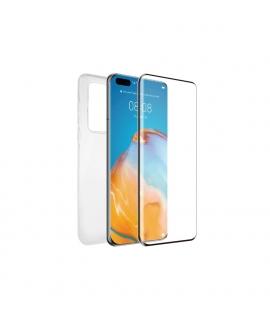 muvit for change pack Huawei P40 funda Cristal Soft + protector de pantalla vidrio templado plano marco negro