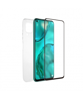 muvit for change pack Huawei P40 Lite funda Cristal Soft + protector de pantalla vidrio templado plano marco negro