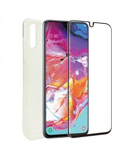 muvit for change pack Huawei Y6P funda Cristal Soft+protector de pantalla vidrio templado plano
