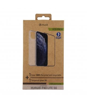 muvit for change pack Huawei P40 Lite 5G funda Cristal Soft + protector de pantalla vidrio templado plano marco negro