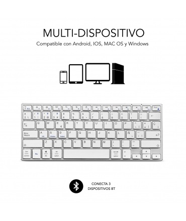 Subblim teclado Advance Compact Bluetooth plata
