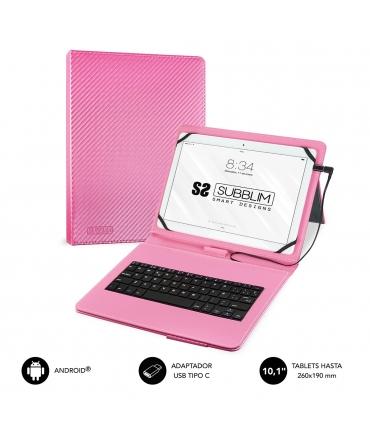 "Subblim Keytab Pro USB funda tablet con teclado 10,1"" rosa"