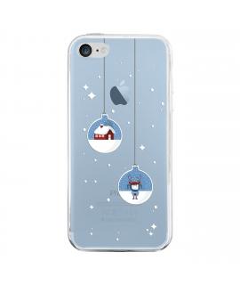 muvit Life funda Cristal Soft Apple iPhone 8/7 Edición Navidad Bolas transparente