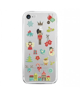 muvit Life funda Cristal Soft Apple iPhone 8/7 Edición Navidad Cascanueces transparente