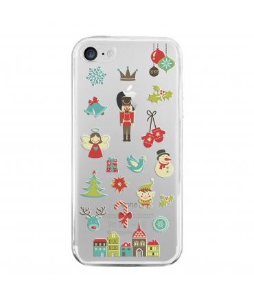 muvit Life funda Cristal Soft Apple iPhone 8/7 Edición Navidad Cascanueces transparente