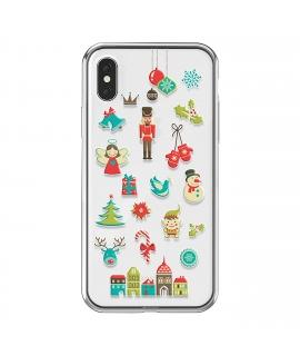 muvit Life funda Cristal Soft Apple iPhone Xs/X Edición Navidad Cascanueces transparente