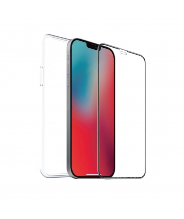 muvit for change pack Apple iPhone 12 Mini funda Cristal Soft + protector de pantalla vidrio templado plano marco negro