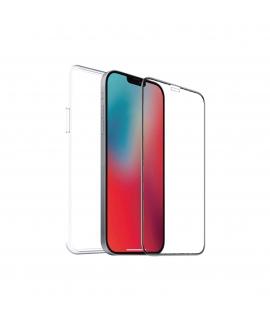 muvit for change pack Apple iPhone 12/12 Pro funda cristal soft+protector de pantalla vidrio templado plano marco negro