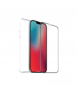 muvit for change pack Apple iPhone 12 Pro Max funda cristal soft+protector de pantalla vidrio templado plano marco negro