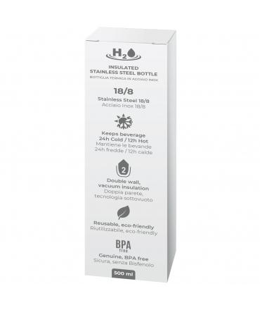 Puro H2O botella de acero inoxidable doble pared 500ml plata