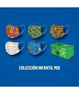 Kukuxumusu Caja 50 Mascarillas Higiénicas Infantiles Colección Mix caja verde