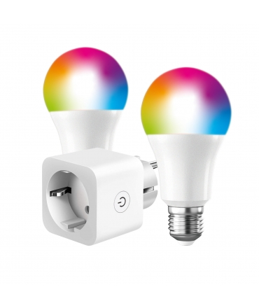Pack Smart: Enchufe Inteligente + 2 bombillas A60 E27 800lm