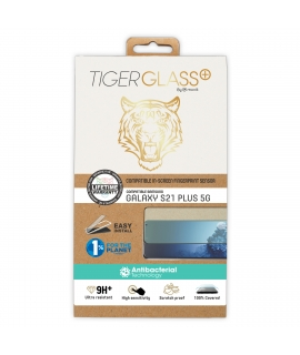 Tiger protector pantalla Samsung Galaxy S21 Plus 5G vidrio templado curvo case friendly marco negro anti bacteria