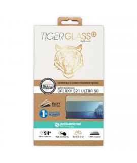 Tiger protector pantalla Samsung Galaxy S21 Ultra 5G vidrio templado curvo case friendly marco negro anti bacteria