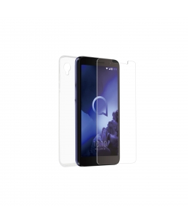 muvit for change pack Alcatel 1 2020 4G funda Cristal Soft +protector de pantalla vidrio templado plano