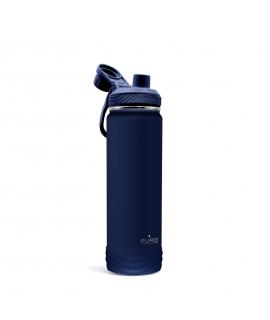 Puro Outdoor botella de acero inoxidable doble pared 750ml azul oscuro