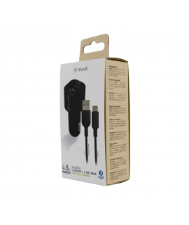 muvit for change pack cargador coche USB 2 puertos 2.4A + cable 1.2m tipo C negro