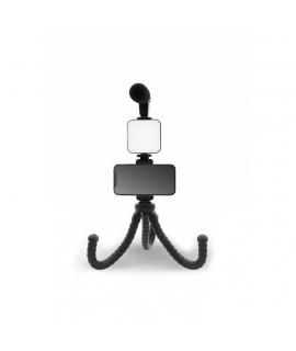 muvit soporte smartphone flexible con Luz led y microfono negro